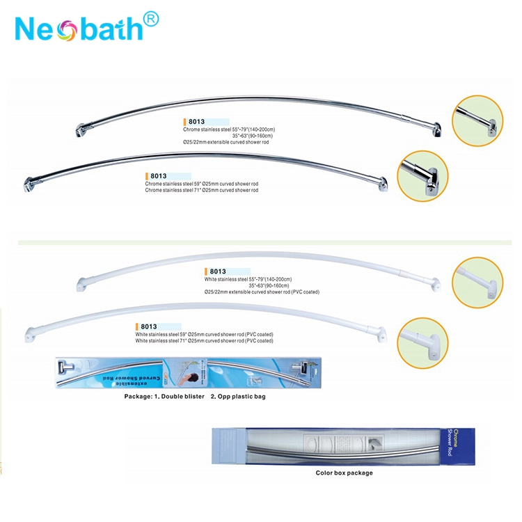 Stainless Steel Bathroom 90 Inch Extension Curve Shower Curtain Rod