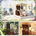 Brand New DIY Wooden Dollhouse Sweet Bakery Handmade Decorations Model with LED Light Miniatura Doll House