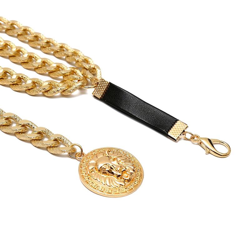 Винтажный Золотой кулон с монеткой в виде льва, многослойный ремень с цепочкой