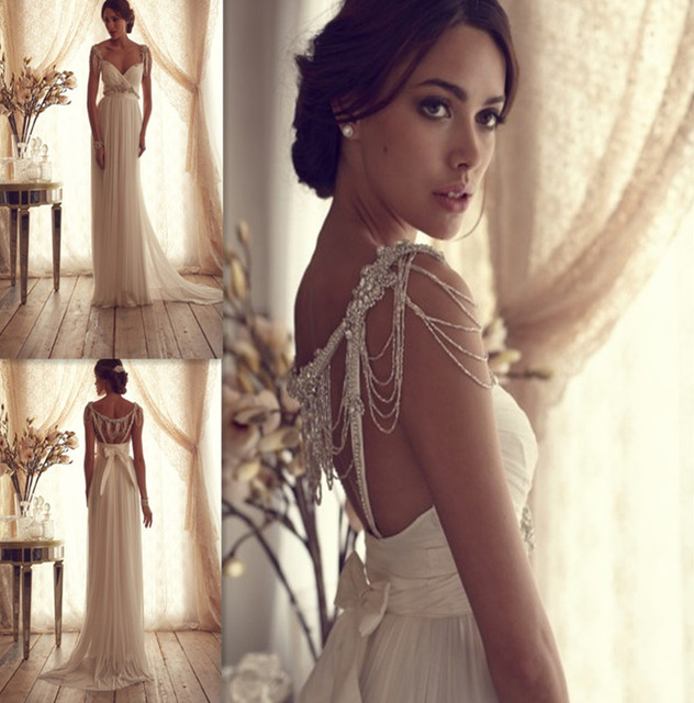 Anna Campbell Wedding Gowns: 2014 Hot New Designer Fashion A Line Chiffon Anna Campbell