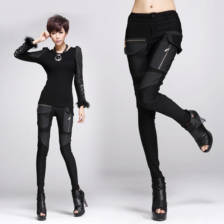 2015 новых женских мода брюки свободного покроя карандаш брюки мотоциклов плед тощий лоскутная черный прямые ноги штаны Большой размер
