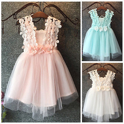 XMAS Baby Girl Princess Party Pearl Lace Tulle Flower Gown font b Fancy b font font