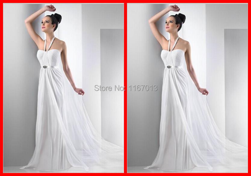 Simple Beach Chiffon Long Wedding Dresses Court Train