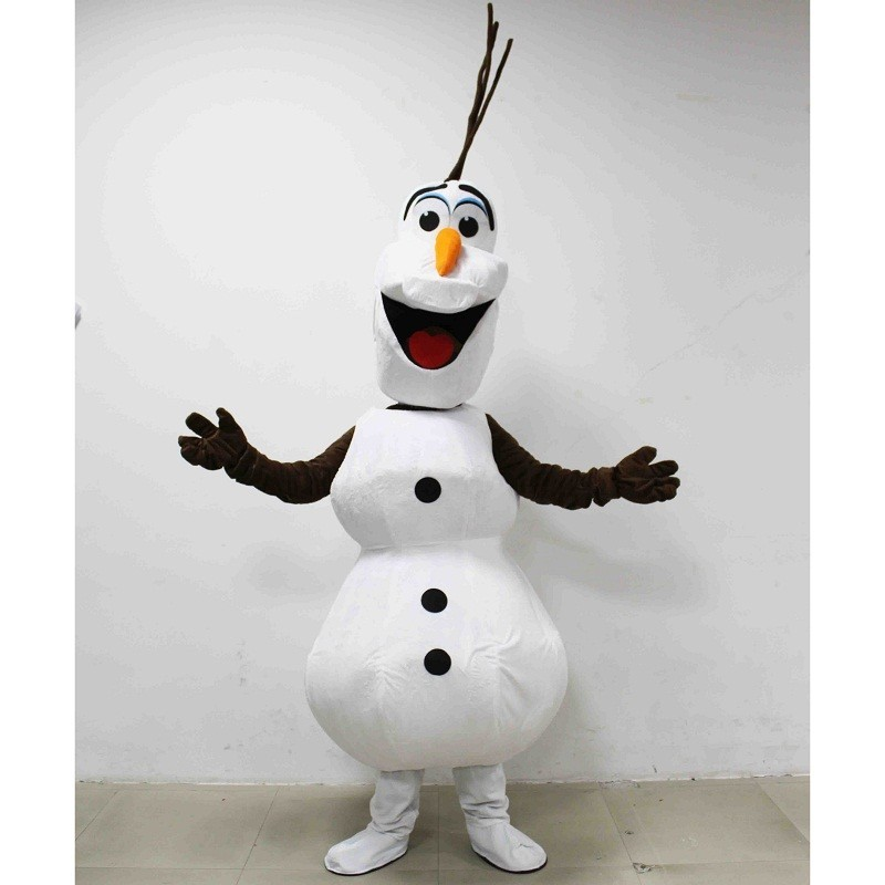 Olaf Frozen Mascot Costume Snowman Character Fancy Cosplay Party Dress Adult