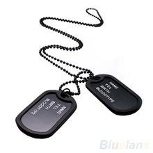 Military Army Style Black 2 Dog Tags Chain Mens Pendant Necklace Jewelry items 02IT