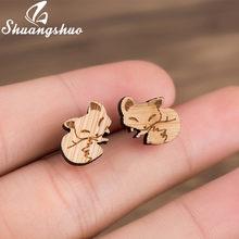 Женские и детские серьги-гвоздики Shuangshuo, миниатюрные деревянные серьги с Микки-Маусом и лисой, Детские аксессуары(Китай)