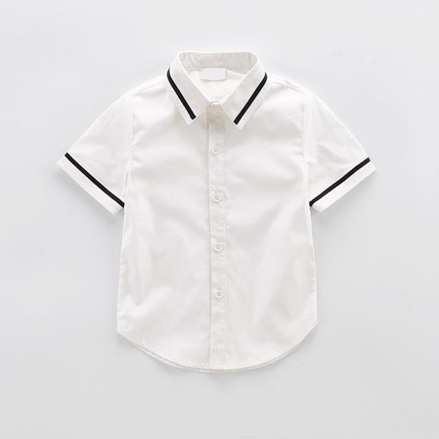Custom Polyester Buttons Plain White Boys Shirts