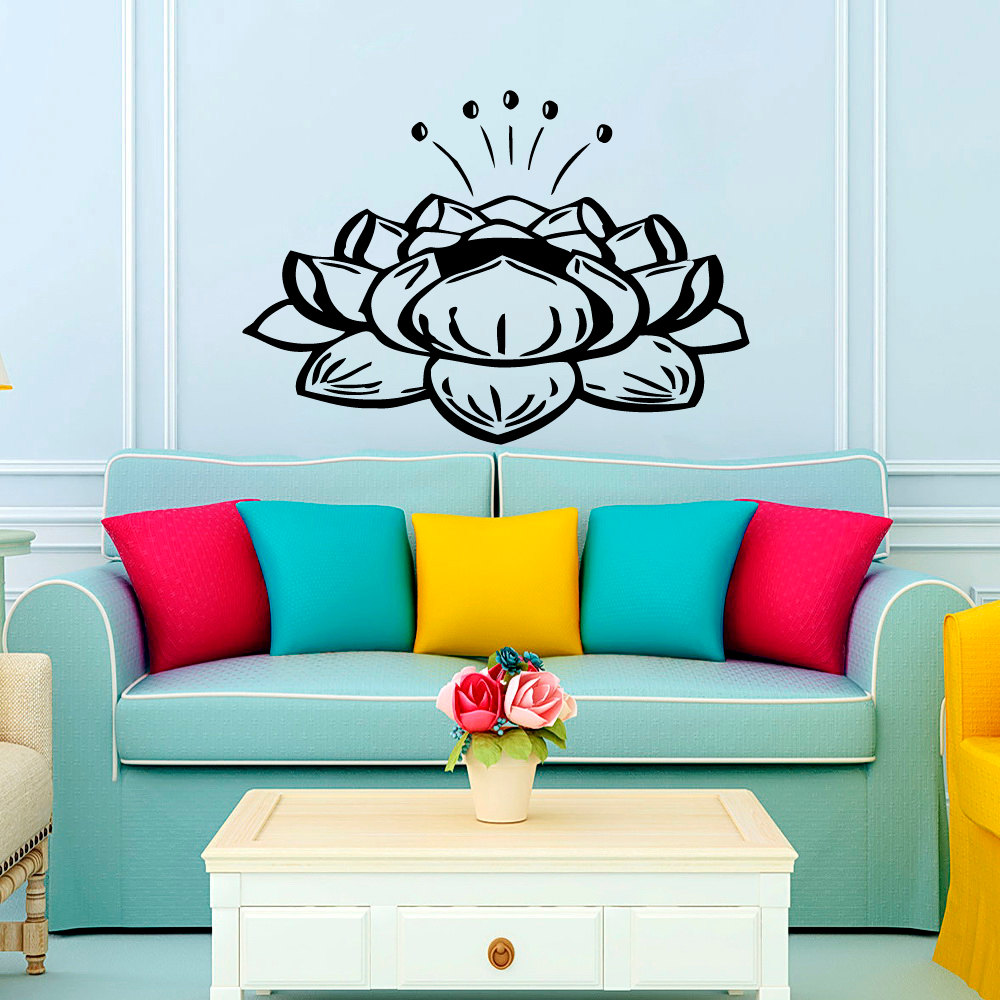 Buddhism Lotus Wall Decals Diy Removable Home Decor Indian Yoga Wall Sticker PVC Hot Sale