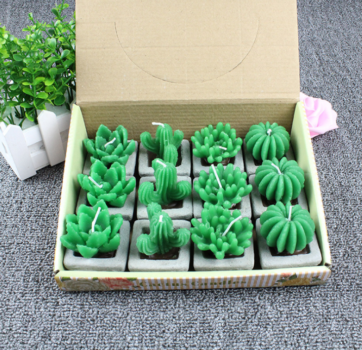 Factory Wholesale Cute Shaped Cactus Candle Green Plant Candle Scented Candle
