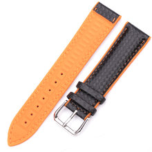 Ремешок для часов HENGRC, кожаный + резиновый, для мужчин и женщин, 18 мм, 20 мм, 22 мм, браслет со стальной пряжкой, черный, желтый, оранжевый(Китай)