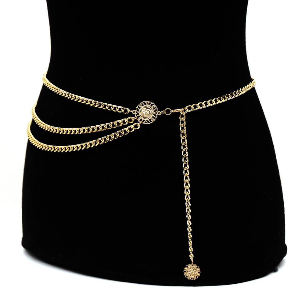 Модная многослойная увеличенная цепочка на талию из сплава, винтажная цепочка на талию с Королевской головой для женщин