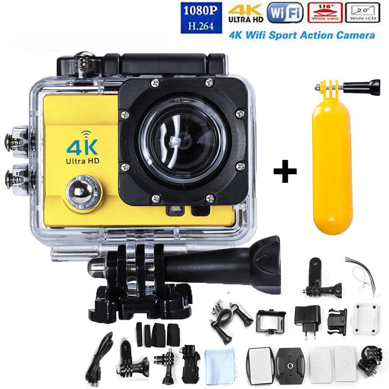 Бесплатная Доставка! ГОРЯЧАЯ 4 К Ultra HD WI-FI Спорт Действий Камеры 2.0 Дюймов 16MP 1080 P Водонепроницаемый Cam + Плавучести палка