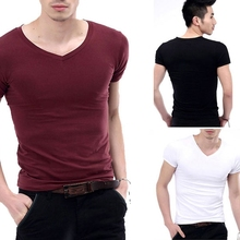 New hot Fashion Men's V-Neck Short Sleeve T-Shirt Slim Basic Tee Top XS-L Multicolor free shipping