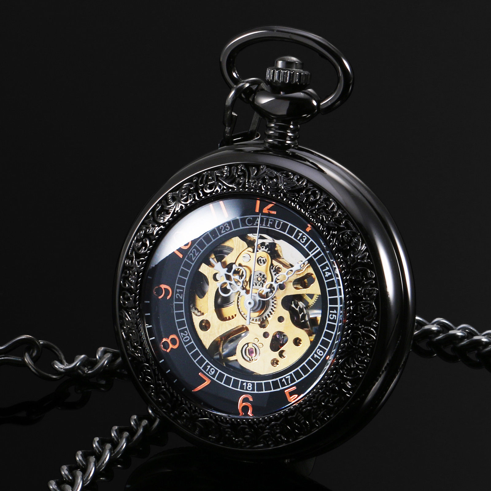 19a93978e New Arrival CAIFU Brand Black See Through Mechanical Mens Pocket Watch  Black Dial Arabic Number Hand Wind Watch w/Chain Gift