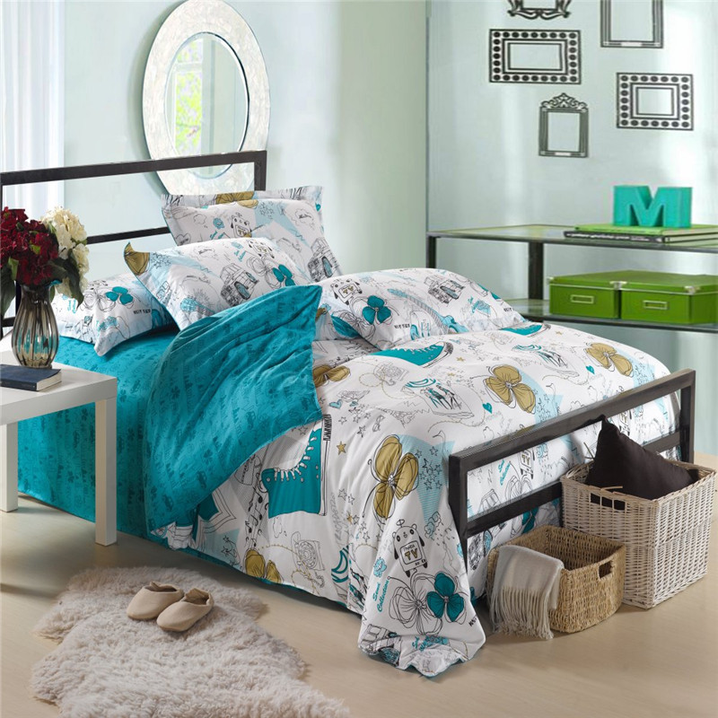 full size 4pcs bedding sets bedclothes bed linen 100 cotton bed sheets flat sheet scrawl diary. Black Bedroom Furniture Sets. Home Design Ideas