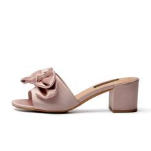 Donna-в Летняя Новинка 2017 г. Женские тапочки из натуральной кожи бабочка-узел повседневная женская обувь сандалии(Китай)