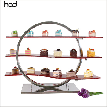 Royal catering decoration restaurant food display snack / 3 tier food display stand buffet for sale in dubai