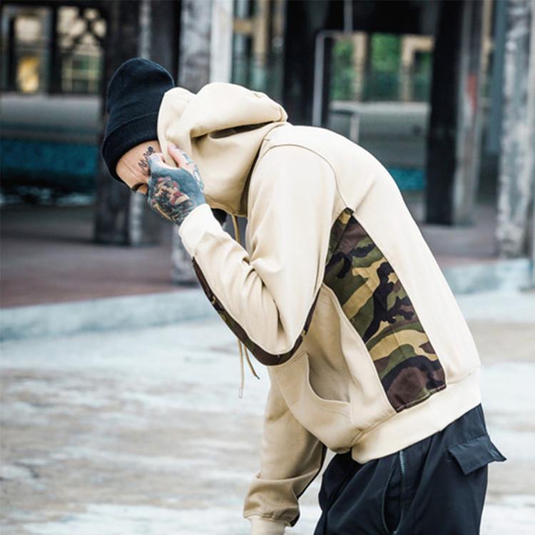Пользовательский цвет блок толстовки трафаретная печать оптовая продажа из хлопка для мужчин больших размеров с камуфляжным принтом толстовки с капюшоном на шнурке