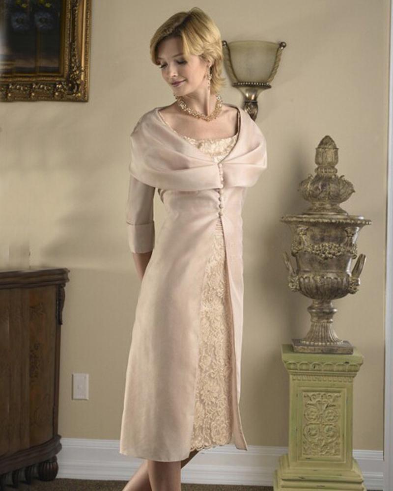 Knee Length Short Sleeve Taffeta Vintage Lace Mother Of