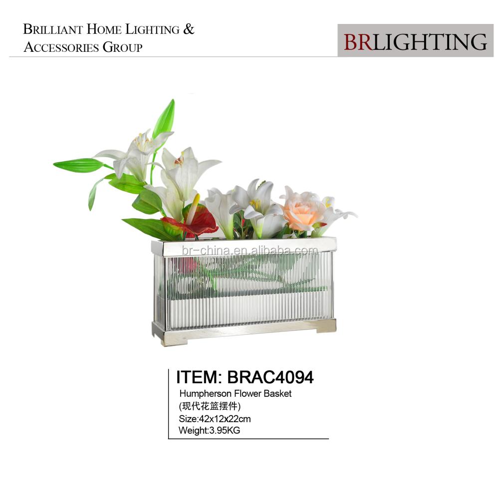 Квадратная корзина для цветов из стекла и металла с никелевой отделкой