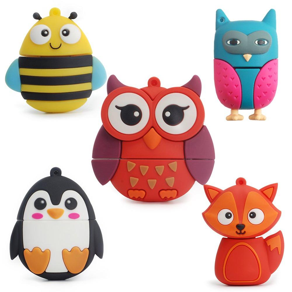 5x16GB Animals USB Flash Drive with Chain Bee Fox Owls Penguin Pen Drive Gift for School Kids and Students(Pack of - USBSKY | USBSKY.NET