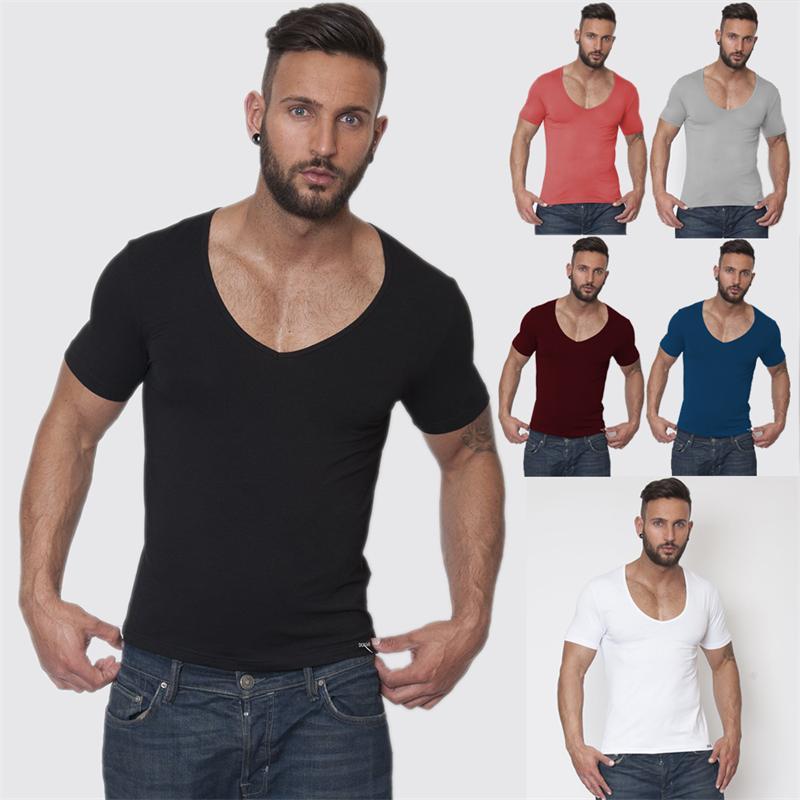 Popular Deep V Neck T Shirts for Men-Buy Cheap Deep V Neck