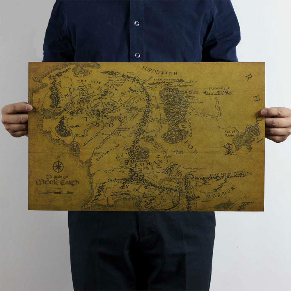 Low Prices MIDDLE EARTH MAP On The Lord of the Rings Vintage Movie
