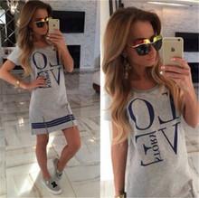 Summer Style LOVE Printed Women Dress Short Sleeve Fashion 2015 Dress Casual O-Neck Dress