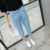 High waist Ankle-Length Pants women lilight blue  loose comfortable jeans summer girls hight quality trousers female