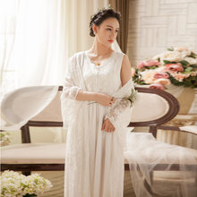 Мягкая белая кружевная винтажная женская пижама, 2 шт., длинная ночная рубашка, женское платье для сна, 4 цвета, сексуальная домашняя пижама 063(Китай)