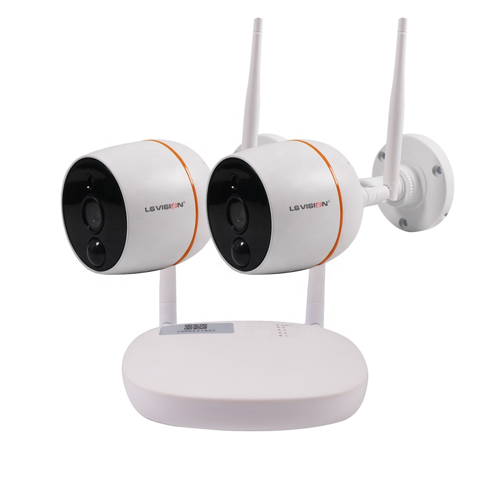 LS VISION H.265 2CH WIFI IP Camera Mini NVR Kit with 2PCS 1080P Wireless IP Camera support PIR Motion Detection 128GB TF Card