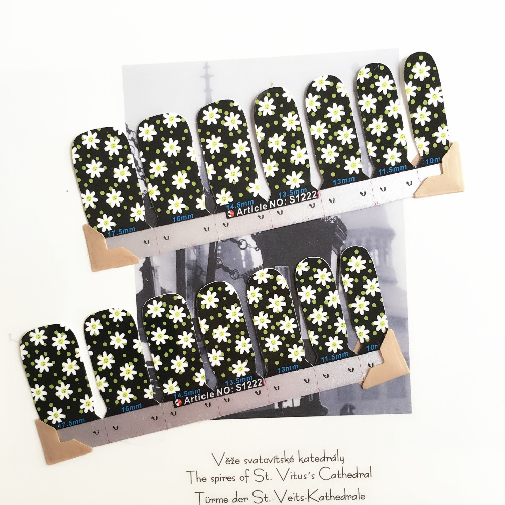 Foral Black Daisy Nail Arts Stickers 14 pcs set Full Tape Patch Waterproof Foils Decals Polish