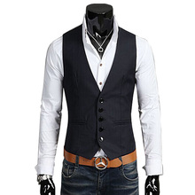2015 new arrival 100% cotton suit vest men  fashion slim fitness Men's Waistcoat  blazer Tops dress vests for men