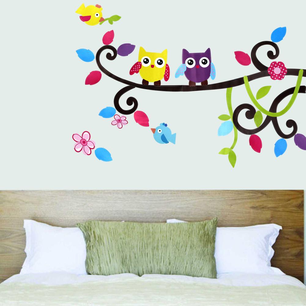 Flower Cartoon Owl Tree Art Decal PVC Wall Sticker Room Home Kids Bedroom Art DIY Decoration