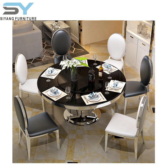 Chinese Furniture Round Glass Top Stainless Steel Dining Table Ct011 Buy Dining Table Round Table Glass Furniture Product On Alibaba Com
