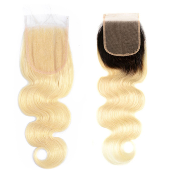 Virgin Hair Blonde 613 Brazilian Body Wave Human Hair Closure 4*4, 1B 613 Lace Closure Free Part Pre Plucked With Baby Hair