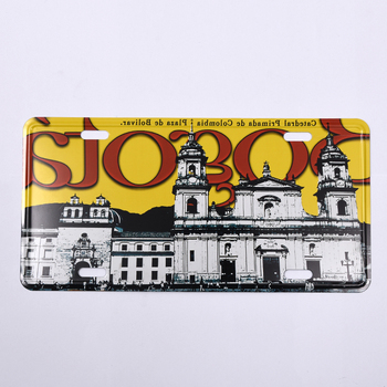 Classical Black And White Ancient European Palace Pattern Printing Yellow Car License Plate