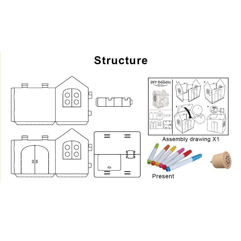 3D Cardboard Playhouse DIY Doodle With Music Light Box
