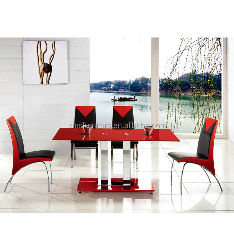 Red Rectangular Dining Table With Glass Top Metal Legs Silver Finish With 2 4 6 Chairs Buy Rectangular Dining Table With Glass Rectangular Dining Table With Glass Rectangular Dining Table With Glass Product On Alibaba Com