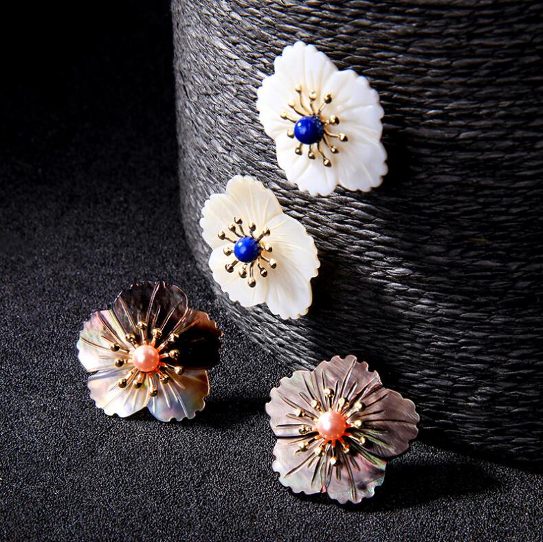 Shell Earrings Mother of Pearl Stud Earrings Bridal Earrings Stud Earrings