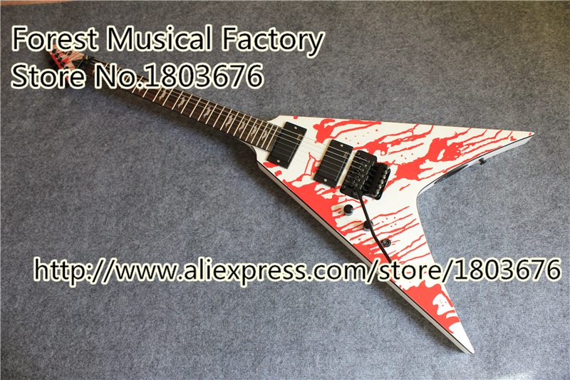 custom shop left handed blood tear finish flying v ltd electric guitar with floyd rose tremolo. Black Bedroom Furniture Sets. Home Design Ideas