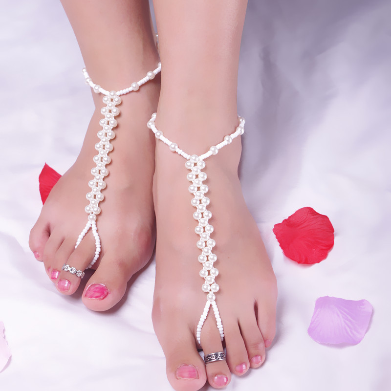 Ножной браслет с бусинами и кольцом на ногу B12351A