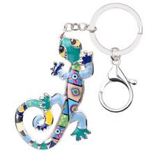 Брелок для ключей Bonsny из эмалированного сплава, Ящерица Геккон, кольцо для ключей с сумочкой, сумка для ключей, аксессуары, новая мода, украш...(Китай)