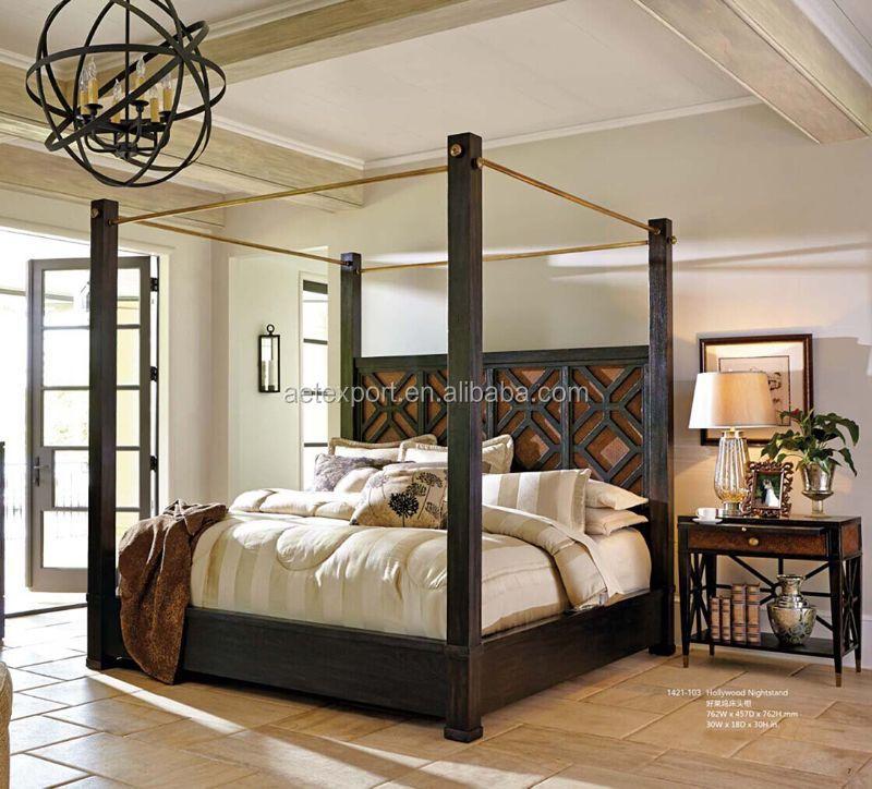 style am ricain design moderne lit en bois massif lit baldaquin lit king size literie id de. Black Bedroom Furniture Sets. Home Design Ideas