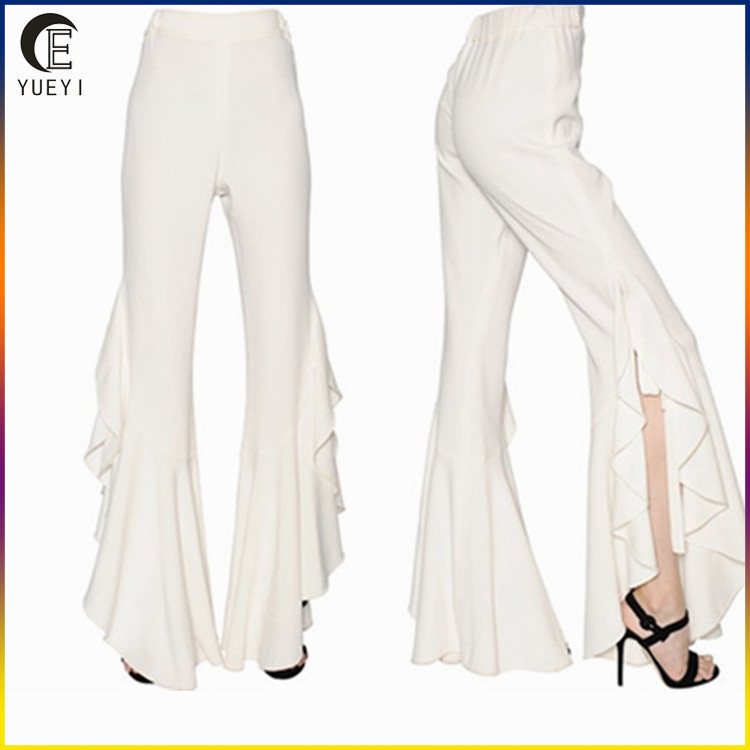 Ladies Designer Trouser Suits High Waist Asymmetric Trouser Women Flared Hem Pant Buy Women Trouser Pants Flared Hem Pant High Waist Asymmetric Pants Product On Alibaba Com