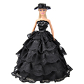 E TING Fashion Wedding Party Black Lace Dress Clothes Gown With Hat For Barbie Dolls Gift