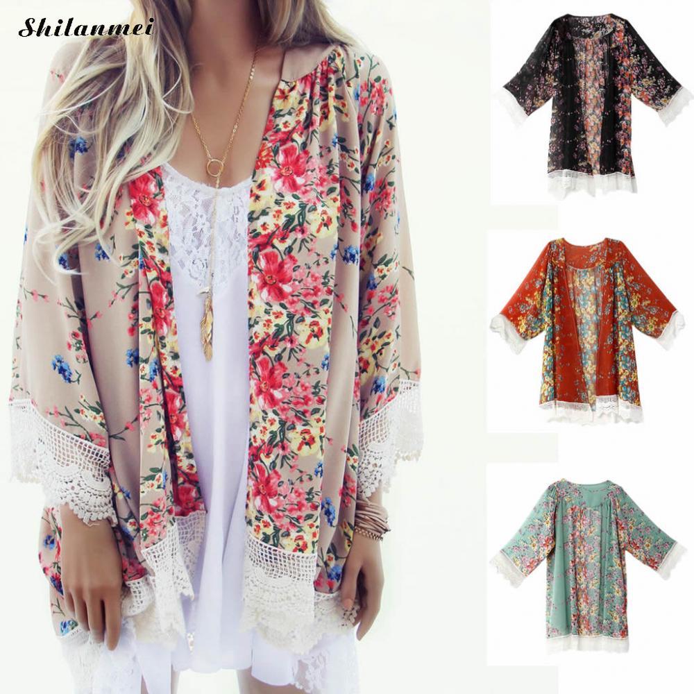 2b5147f894 Women's Sheer Chiffon Blouse Loose Tops Kimono Floral Print Cardigan Summer  Beach Wear Bikini Floral Printed Long Lace Cardigan. Store-wide Discount