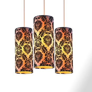 fancy faux silk fabric flocking cylindrical lamp shade
