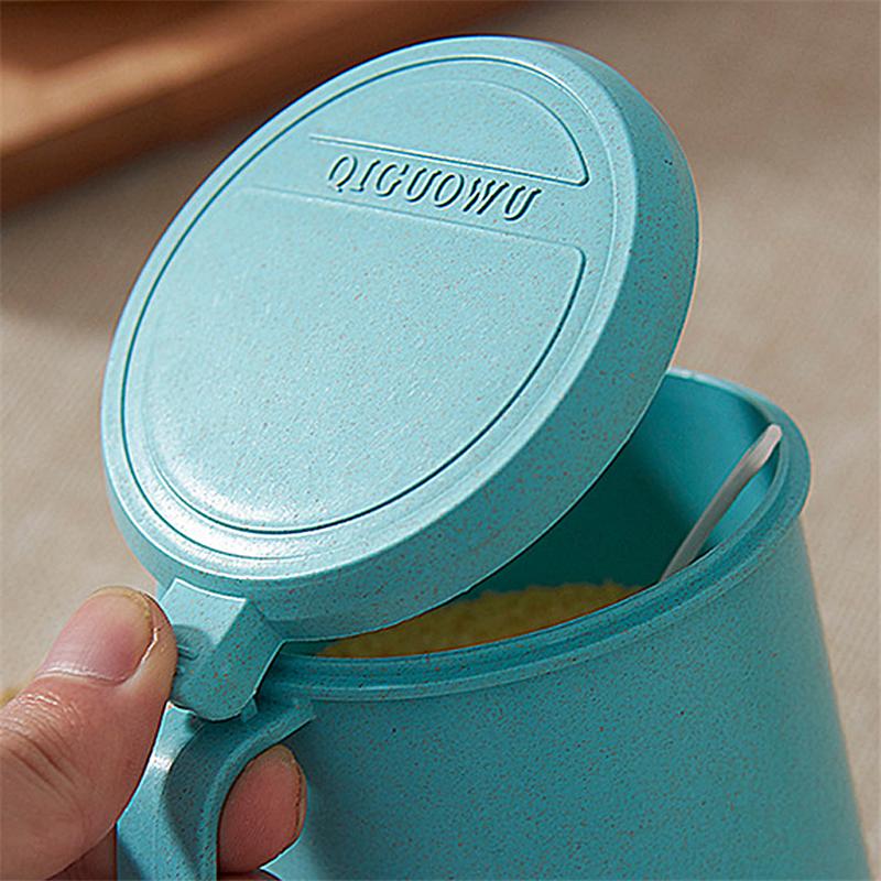 Новый дизайн, пластиковая коробка для приправ с ложкой из пшеничной соломы