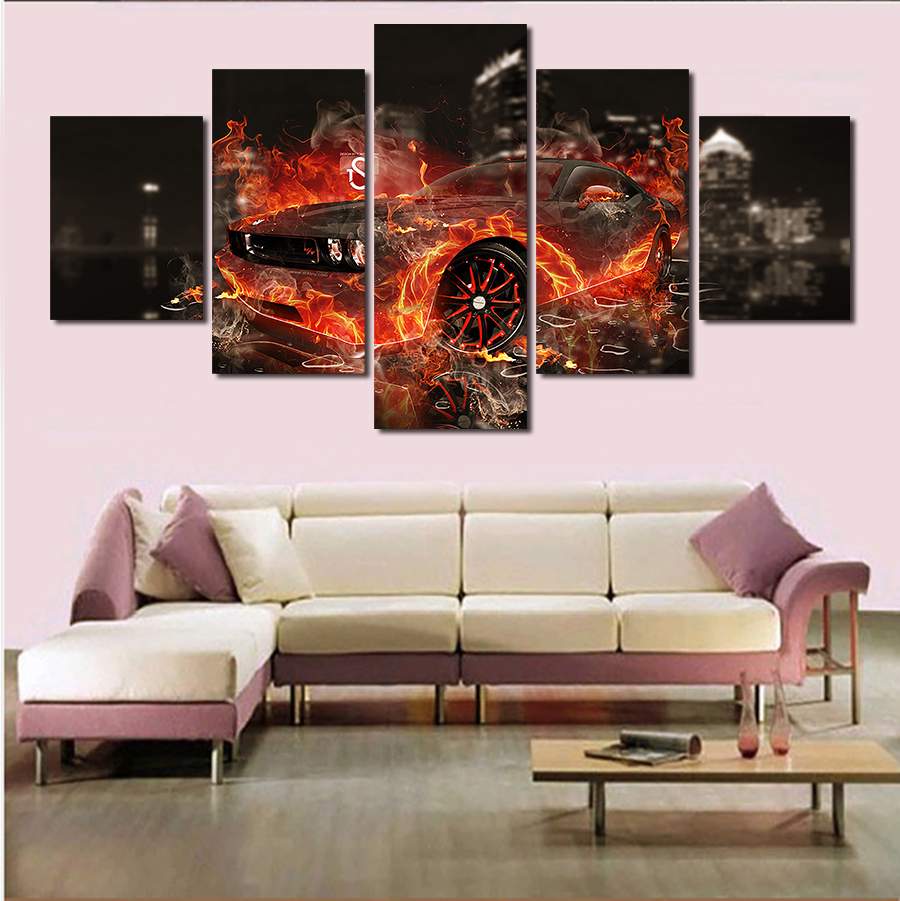 Cuadros Decoracion 5 Pcs Cool Car Large Canvas Print Painting For Living Room, Wall Art Picture Gift,decoration Home Unframed
